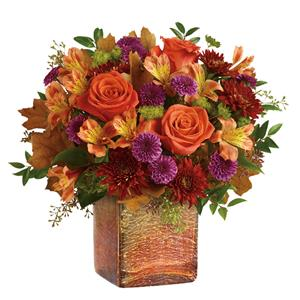 Hand-arranged in a shimmering opalescent mercury glass cube with gorgeous golden ombre finish, this vibrant autumnal arrangement is a beautifully breathtaking surprise!