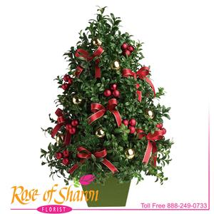 Image of 6043 Deck the Halls Tree from Rose of Sharon Florist