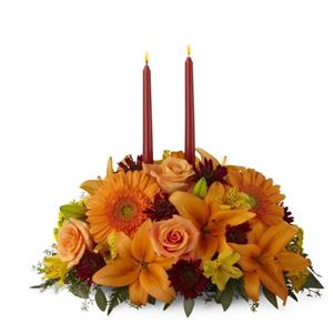 Image of 3252 Bright Autumn Centerpiece from Rose of Sharon Florist