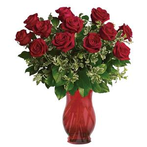 Image of 91010 One Dozen Roses in Red Vase from Santa Maria Flowers