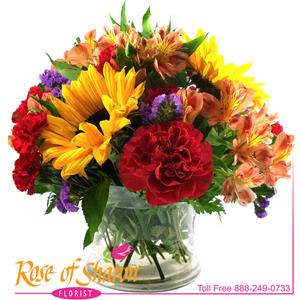 Vibrant blooms speak of the boldness of Summer but this pleasant arrangement is available most times of the year.
