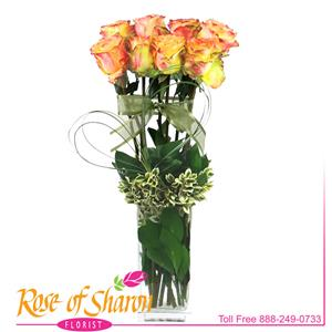 Eight, beautiful Ecuadorian Roses arranged in a tall cube vase  and festooned with an Artisanal Heart of grasses. Availablility of Roses may vary.