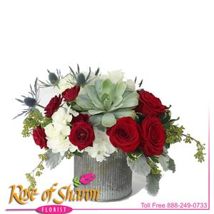 Image of 2519 Miki Succulent & Rose Bouquet from Santa Maria Flowers