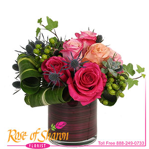 Rosabela is a beautiful assortement of 8 roses in tones of pink. Arranged in our heavy glass cylinder vase lined with coordinating faux aspidistra which hides the stems, this beautiful bouquet dazzles with texture and tone. See Rosana to change the container.