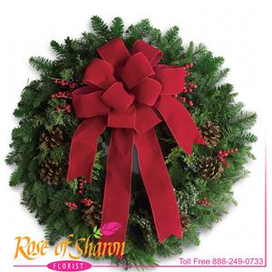 Image of 6040 Classic Holiday Wreath from Rose of Sharon Florist