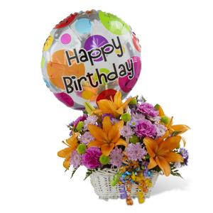 Image of 3607 Happy Blooms Basket from Rose of Sharon Florist