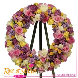 Pastel Reflections Rose Wreath